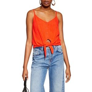 Topshop Polly Tie Front Camisole Red Size 4 NWT